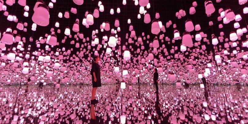 呼应灯森林 - 一笔, 樱花 / Forest of Resonating Lamps - One Stroke, Cherry Blossoms